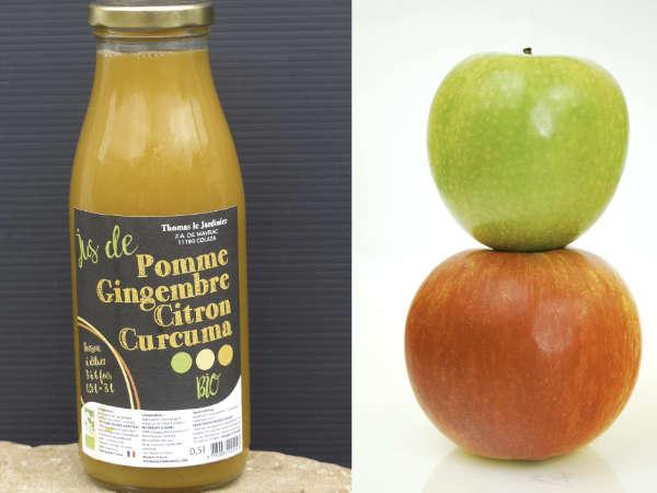 Boisson gingembre, curcuma, pommes
