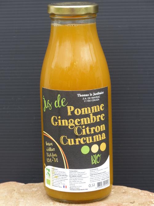 Boisson concentrée pomme, gingembre et curcuma