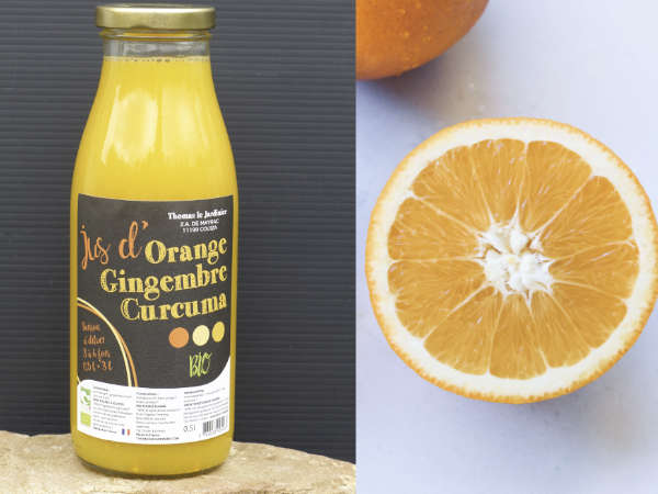 Boisson orange, gingembre, curcumaBoisson orange, gingembre, curcuma