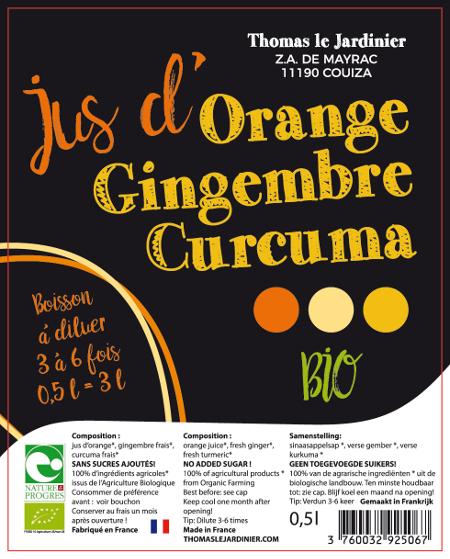 Boisson concentrée orange gingembre